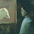 何多苓的油畫《紅色天氣的馬》76x106cm (1991)