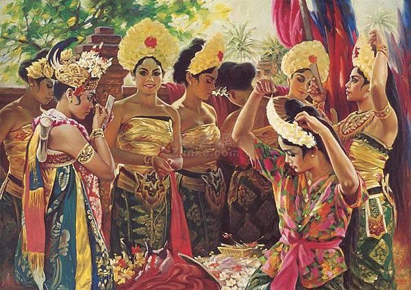 王暉將濃郁的南亞女舞者風韻表現在油畫創作上。畫中峇里島少女共有八位,個個具有舞蹈氣質,卻性格各異並且正緊張地梳妝打扮,即將登臺