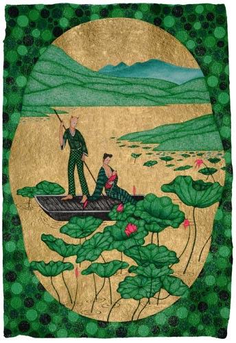 《搖啊搖  臨 焦秉真「仕女圖冊」及惲壽平「荷花圖」》作品屬於姚瑞中的「甜蜜蜜」系列 (2011)