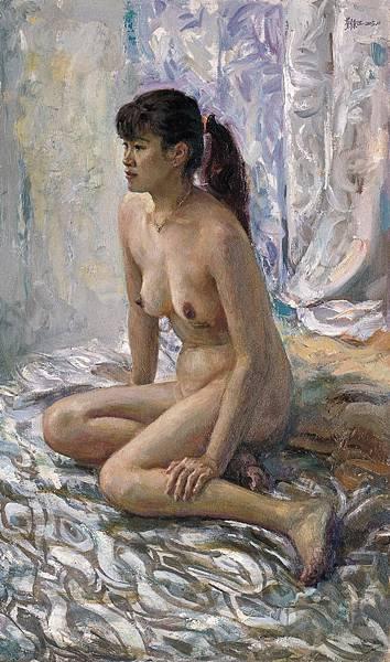 劉秉江油畫《銀灰色調的女裸體》布面油彩 (2005) 曾以198000人民幣拍出