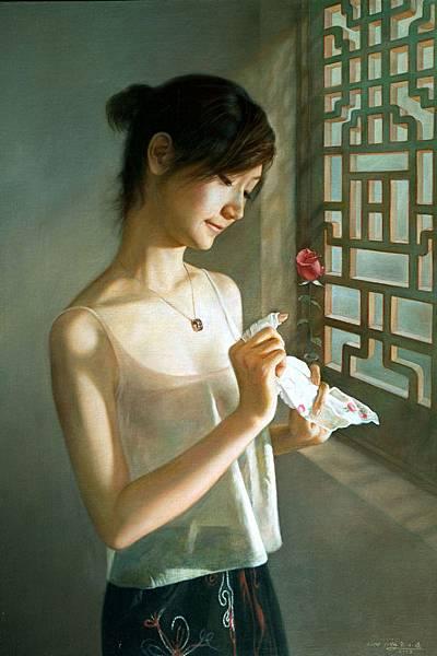 余小儀《醉》系列作品,題為「玫瑰映心扉」