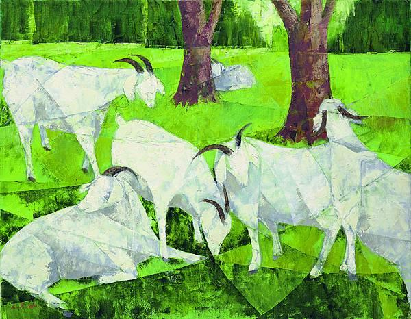 吳隆榮擅長油畫,但由畫風轉變可看出他的人生階段:從早期學院派的穩重厚實,至揣摩立體主義的重疊技法,創造「似立體」風格,再到超越形體的抽象塊面分割畫法,獨創而富現代性,帶給觀者截然不同的審美經驗及世事歷練。圖為作品《六羊開泰》