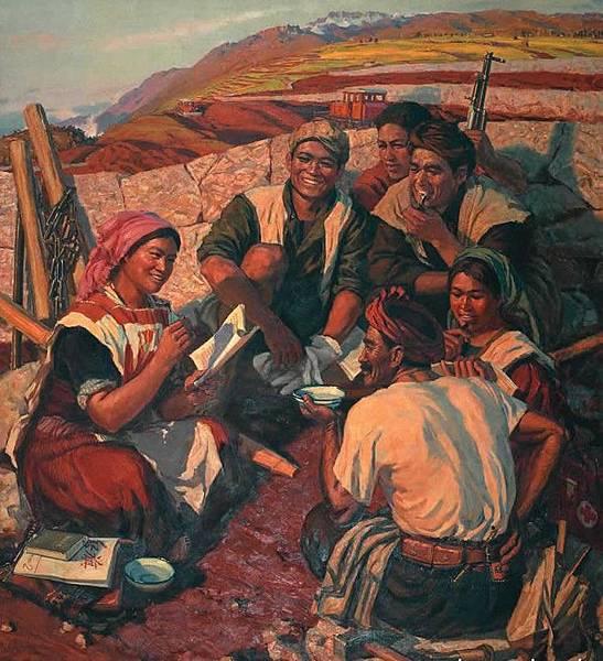 孫景波在文革期間下放雲南農村勞動八年,邊疆多民族,風俗樸真醇厚,自然風貌綺麗多彩令孫景波終生受益,圖為他的代表油畫作品
