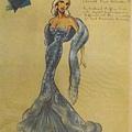 幫曾於1950年代非常紅的女星Diana Dors 手繪服裝設計圖 (Julie Harris 提供)
