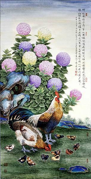王雙寬《繡球花園慶團圓》136 x 70 cm 墨彩