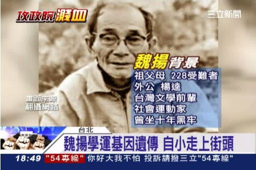 楊逵 (1906-1985,圖) 是楊翠的父親及魏揚的外公,也是台灣抗議文學的先鋒作家及社會運動家 (圖擷自三立新聞台)