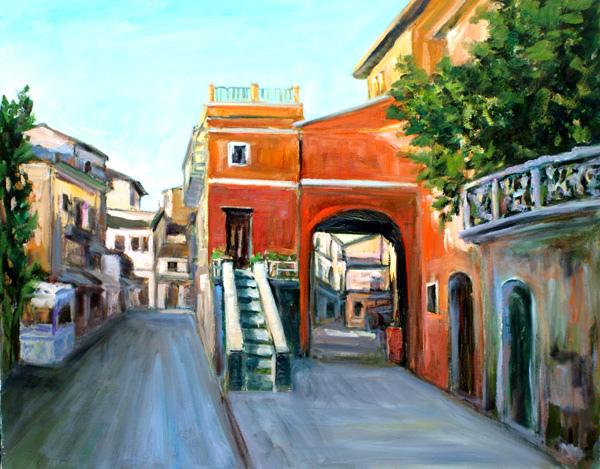 身兼油畫家與書法家的許宜家的作品《北歐小鎮 》30F (私人收藏) 。相關報導與評介,請見J3到J7各版