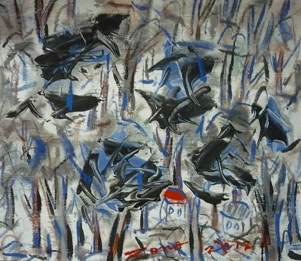 定居台灣中部的資深畫家及陶藝家何季諾的畫作,堆疊力道厚實,彩墨銳利繽紛,辨識度及收藏價值均高 (私人收藏)
