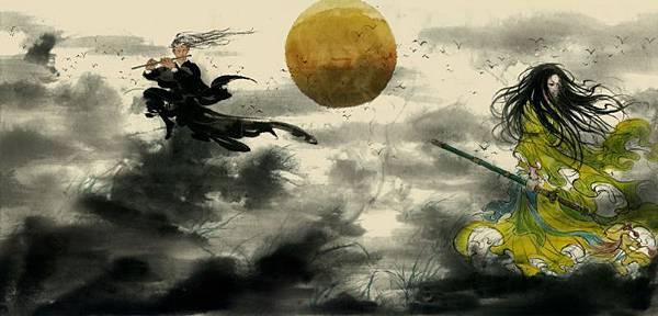 葉羽桐結合日式漫畫線條及中式水墨畫技法的創作