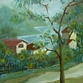 柯秀瑩油畫4F《山谷人家》