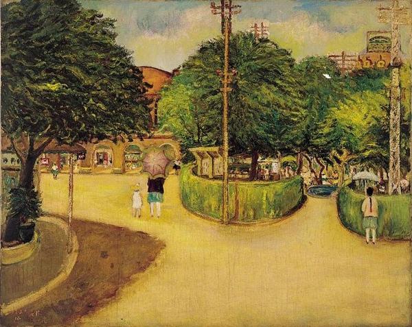 陳澄波《夏日街景》(1927),入選日本第八回帝展