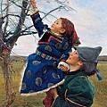 龍力游《摘野果》(2012)油畫 162×112cm,2013年以437萬人民幣拍出