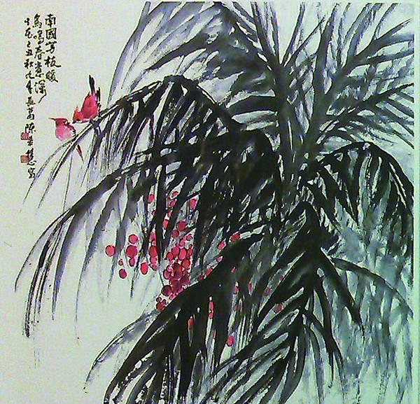 「鳥鳴春意深」。陳若慧的水墨畫意境,令人激賞,也是藝術家多年來的精心之傑作