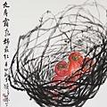 陳若慧擅長藤蔓與蔬果的水墨畫