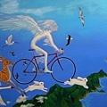 嚴凱信的插畫主題或在水邊,或飄在空中,幻想風格濃烈