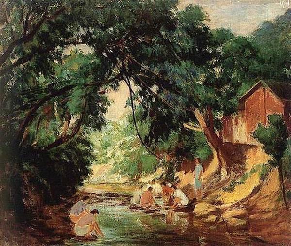 李梅樹的油畫《三峽風光》(1957)