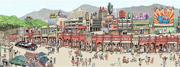凌群的漫畫長卷勾勒三峽街景,在地趣味加碼,將有多位「總統」逛老街