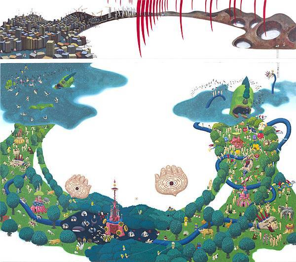 西澤千晴 Chiharu Nishizawa 庇護島-b Shelter-b 180x194cm 2015 木板 壓克力彩 畫布 Panel, Acrylic on Canvas