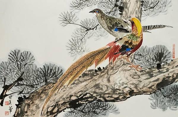 松林錦雞60x90 cm