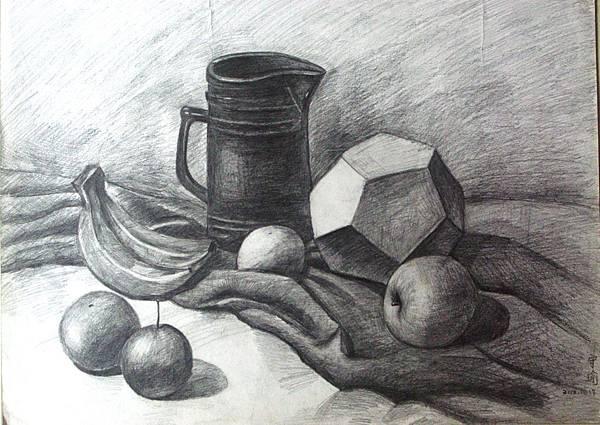 溫守瑜 素描-桌上的水果53x39cm