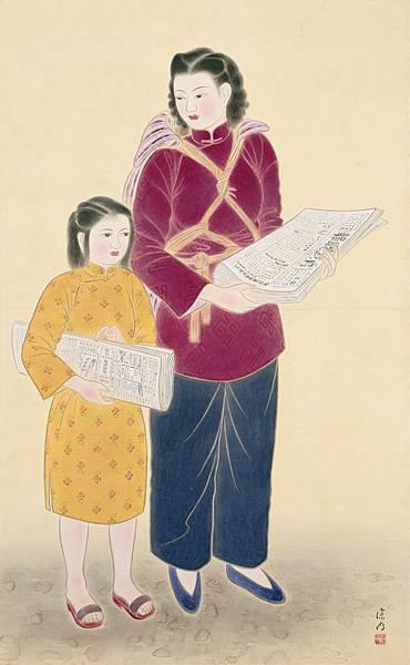 許深州〈自立〉1950 礦物彩、絹 81×129 cm 國美館典藏