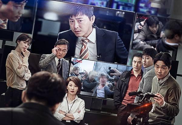 001【奪命頭條】劇照_曹政奭(中上)這回化身電視台記者追獨家,與眾多實力派演員一同飆戲