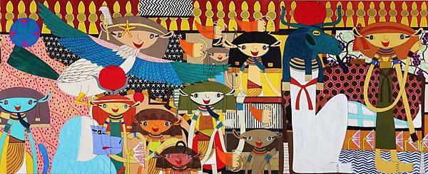 三宅信太郎 Shintaro Miyake 埃及之路( 局部 ) Path to Egypt 200x1798cm 2008 壓克力顏料 油墨 畫布 Acrylic and Ink on Canvas-3
