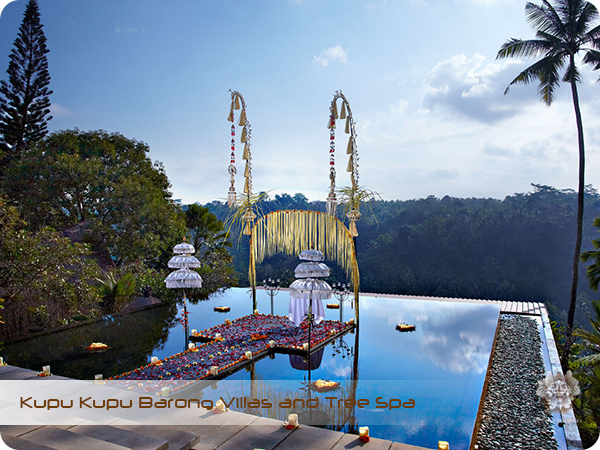 Kupu Kupu Barong Resort and Tree Spa Balinese Sunset Wedding at Lobby Pond