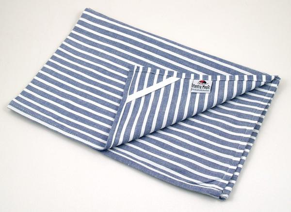 印度藍白橫條桌巾