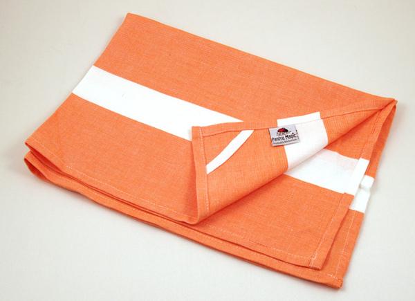 印度橘色白線條餐巾50x70公分