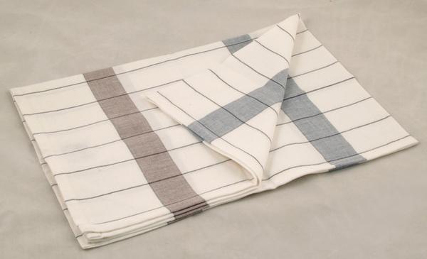 毛巾(藍/咖啡條紋格子)