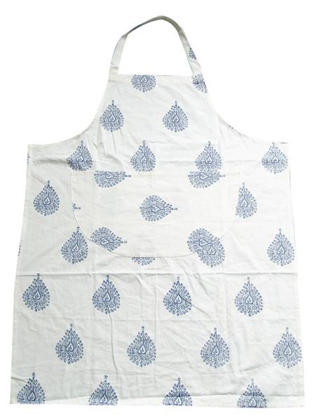 圍裙藍色花紋