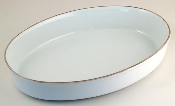 白陶瓷橢圓烤盤(大)