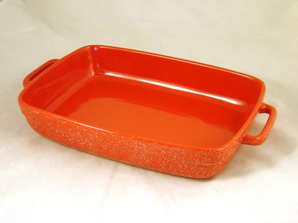 11x8吋紅色陶瓷烤盤(雙耳)