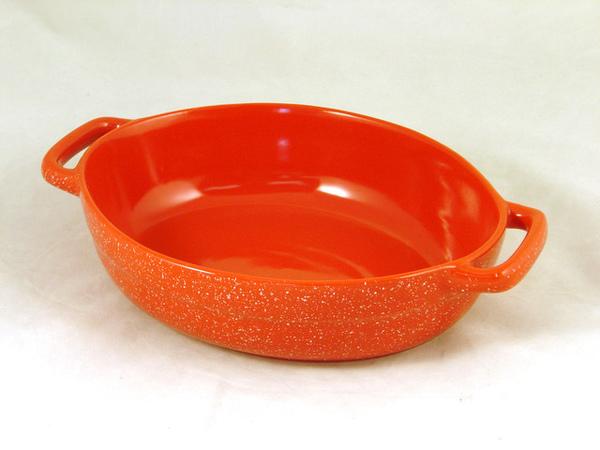 8x6吋紅色陶瓷烤盤(雙耳)