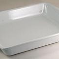 PM白色35cm方型陶瓷烤盤(握把)