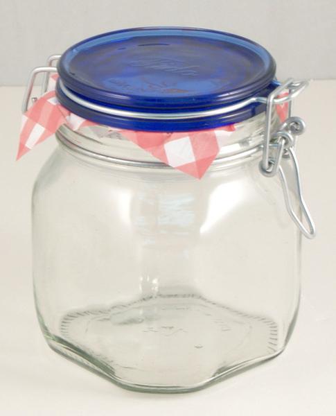 義大利0.75公升藍蓋玻璃保存罐