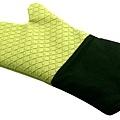 綠色矽膠格隔熱布手套