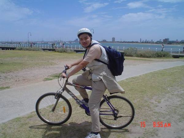 I was biking!