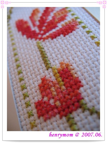 Bookmark with DMC Color Variation -- detail