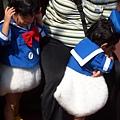 好可愛的小唐老鴨喔.....因為一群女生跑向他,他嚇到躲在媽媽懷抱裡.....我以後也要把小孩打扮成這個樣子