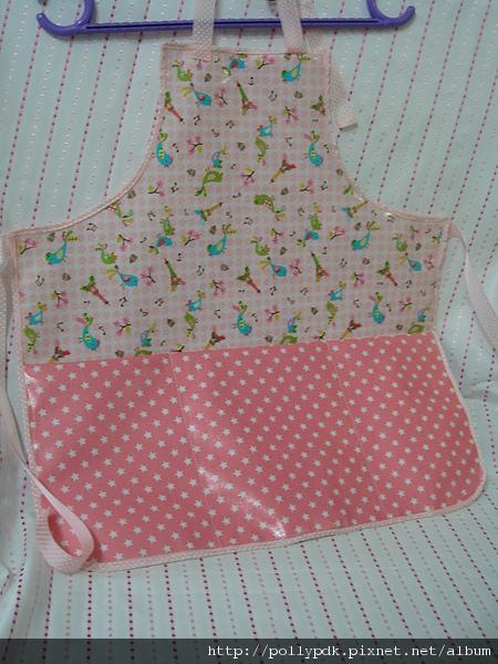 兒童防水圍裙-粉1-3