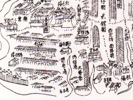 乾隆17年王必昌《重修台灣縣志》台灣府城城池圖
