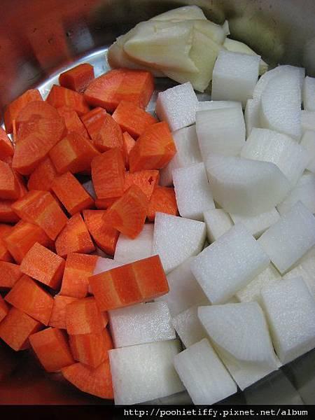 紅白蘿蔔切塊