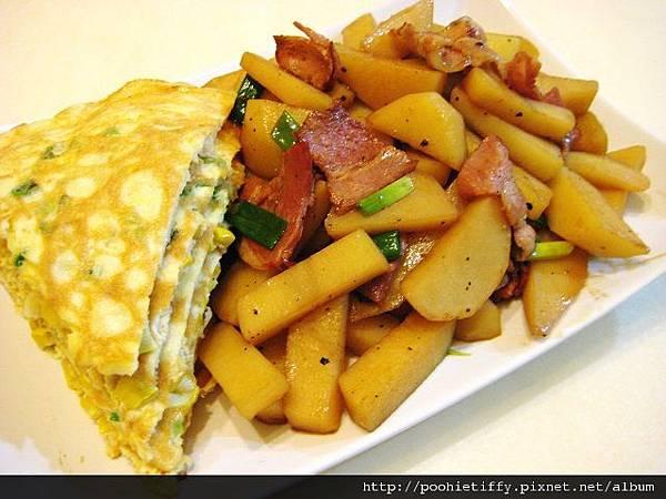 玉米蛋+培根馬玲薯