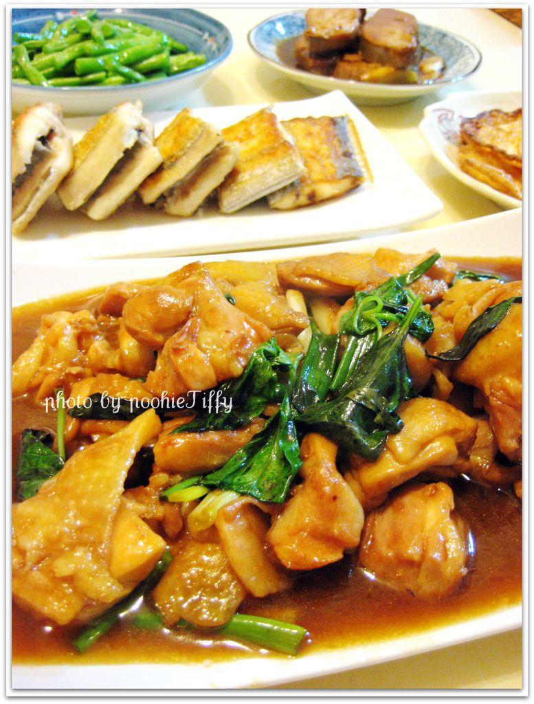 三杯雞+紅燒鮪魚肚+鹽煎白帶魚+清燙四季豆+酥炸荷包蛋