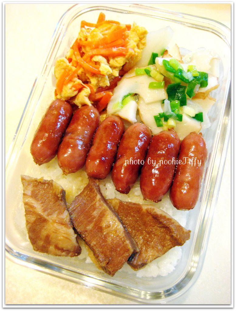 滷松阪豬+嘟嘟小香腸+紅蘿蔔炒蛋+大根炒魚阪