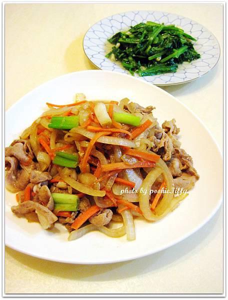 清炒A菜+洋蔥紅蘿蔔絲炒火鍋豬肉片