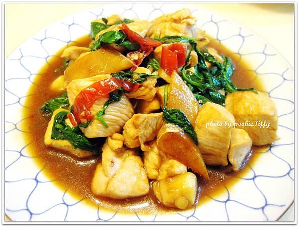 三杯雞丁+清炒波菜+蔥花蛋+素料筑前煮