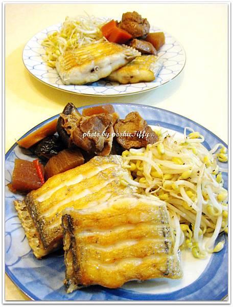 香煎白帶魚+清炒豆芽菜